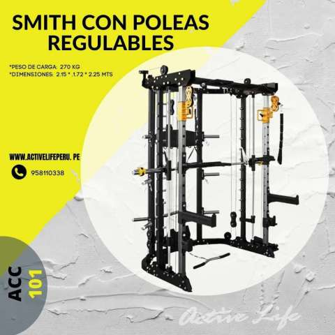 MULTIPOWER -SMITH -CROSS OVER -POLEA DUAL -SENTADILLA 101